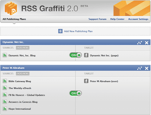 RSS Graffiti 2.0 Beta overview page