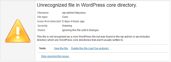 WordFence Security - Unrecognized File in WordPress Core